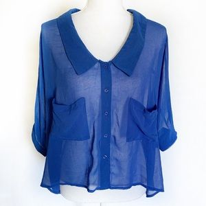 Tops - Sheer Crop Front Button Blouse
